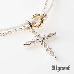 3way   Cross & Babyring White Necklace